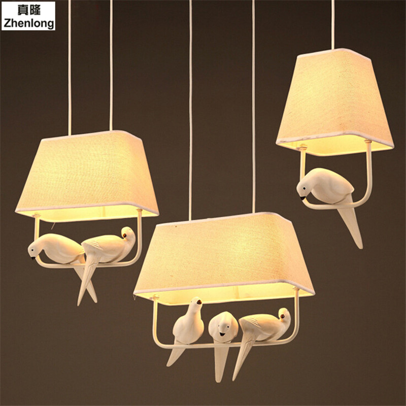 Birds Pendant Lights Vintage Lamp Resin Bird Fabric Lampshade for Kitchen Lighting Dining Room Retro Loft Pendant Lamp