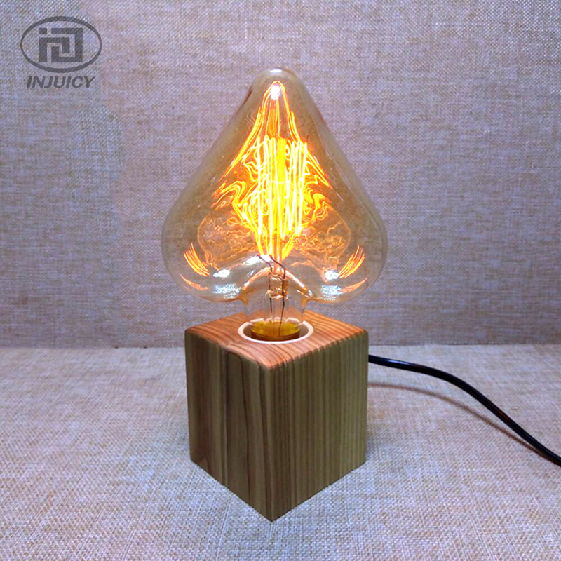 Vintage Style Industrial Real Wooden Table Lamp LED E27 Edison Bulb Desk Light Bedroom Study Office Cafe Bar Bedside 6pcs ink cartridge t2771 t2772 t2773 t2774 t2775 t2776 compatible for epson expression photo xp 750 760 850 860 950