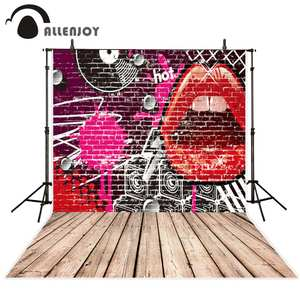 8x8FT Vinyl Backdrop Photographer,Kiss,Grunge Looking Lipstick Background for Baby Birthday Party Wedding Graduation Home Decoration