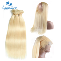 Sapphire Brazilian Straight Human Hair 3 Bundles With 360 Lace Frontal 613 Remy Human Hair 3