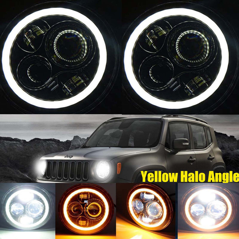7'' Inch 12 Volt LED Lights High Low headlamp LED DRL With White/Amber Turn Signal for Jeep Wrangler JK CJ TJ OffRoad Lights ijdm amber yellow error free bau15s 7507 py21w 1156py xbd led bulbs for front turn signal lights bau15s led 12v