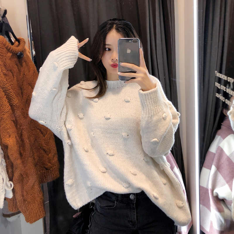 2019 MISHOW Otoño Invierno moda soild suéter para mujeres causal alrededor del cuello manga larga blanco tejido suéter tops MX18D5403