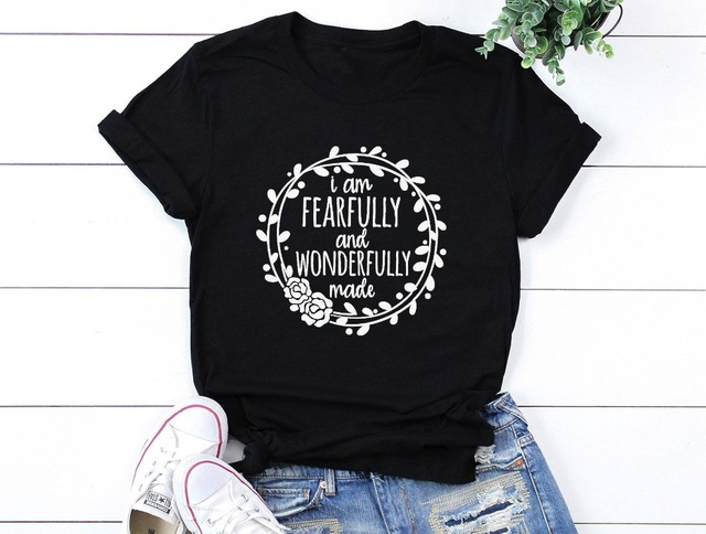 Fearfully and wonderfully made T-shirt Jesus Faith Christian Mom Shirt  women s slogan flower graphic 002b2c0a1