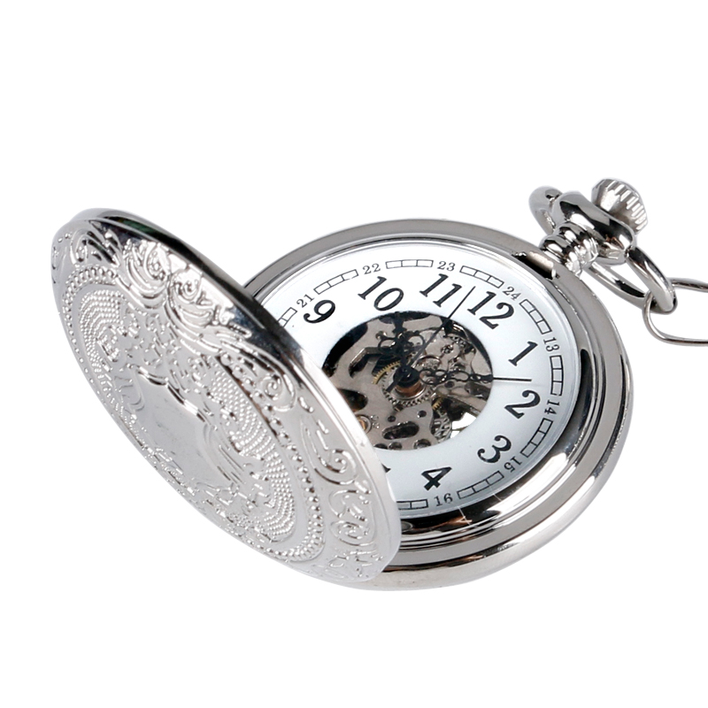 Retro Silver Skeleton Steampunk Hand-wind Mechanical Pocket Watch with Chain For Men Women relojes de bolsillo купить