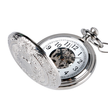 Retro Silver Skeleton Steampunk Hand wind Mechanical Pocket Watch with Chain For Men Women relojes de bolsillo