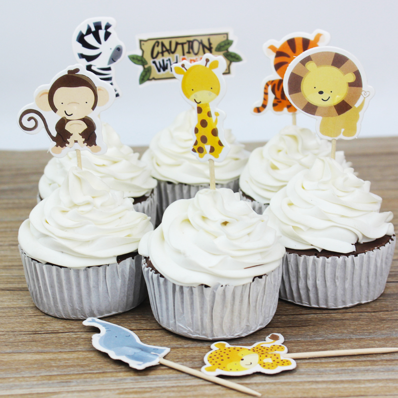 720pcslot Wild Animal Party cupcake toppers picks decoration for
