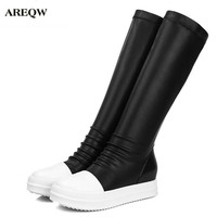 AREQW Autumn Winter New Women Boots Leather Thick Bottom Medium Tube Boots Women Black To The