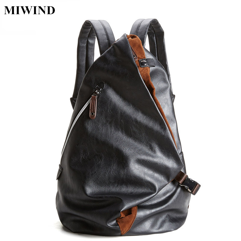 ФОТО MIWIND Mens PU Leather Backpack Waterproof Anti-theft Travel Backpacks Multifunction Fashion Teenagers School Bags Unisex