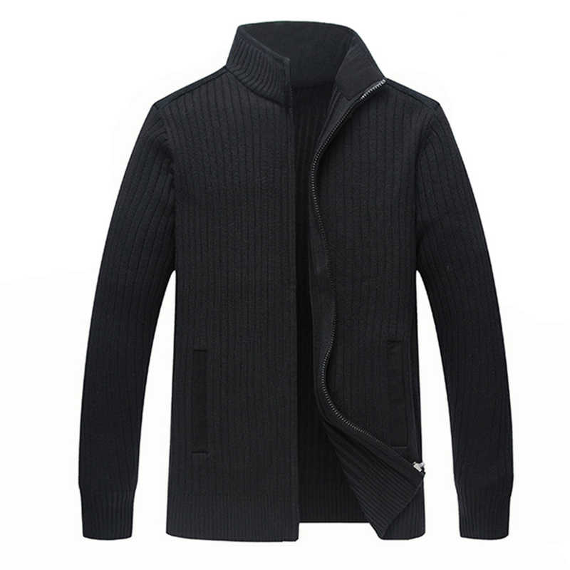 Winter Merino Wool Sweaters Men Big Size 4XL Mens Warm Hand Knit Zipper Cardigan-male Solid Casual Clothing Jacket  ZZ103