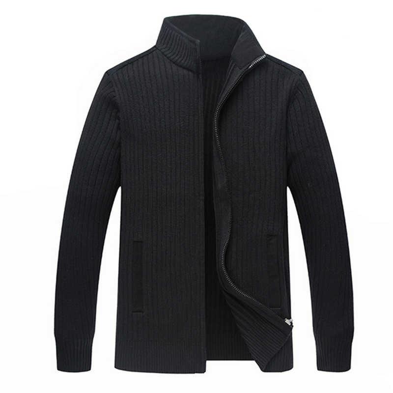 Зимние свитера из мериносовой шерсти мужские большие размеры 4XL мужские s Теплые ручной вязки на молнии кардиган-Мужская однотонная повседневная одежда куртка ZZ103