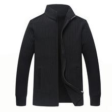 Suéteres de lana merina de invierno para hombre talla grande 4XL cárdigan tejido a mano cálido con cremallera chaqueta informal Lisa para hombre ZZ103