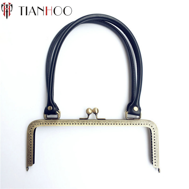 TIANHOO 5pcs 24cm Metal Clasp for Handbag Sew in Purse Frame Replacement PU Handle for DIY Clutch Bag Parts Accessories Hardware colorful pu leather strap for bag accessories handle with metal clasp for diy purse 10pcs lot