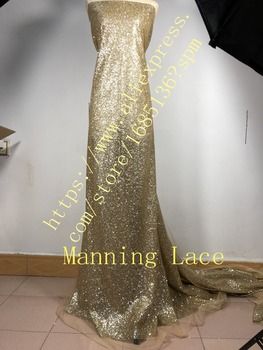 African glitter french Net Lace Manning-88055 gold glued glitter Tulle Lace Fabric for sexy dress in gold color
