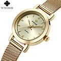 WWOOR Brand Women Watches Ladies Casual Quartz Watch Gold Female Clock Luxury Stainless Steel Bracelet Wrist Watch Montre Femme