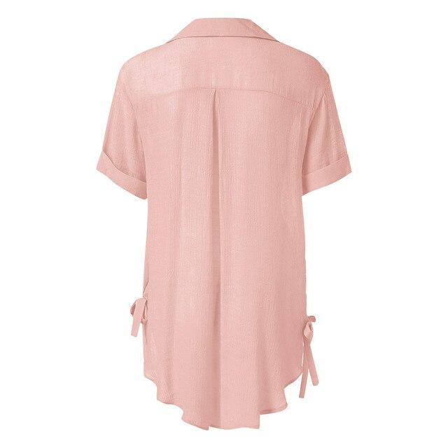 2019 Women Button Solid Bikini Cover Up Summer Beach Dress Cotton Ladies Casual Kaftan Beach Tunic T-Shirt Blouse Pareos Cape 4