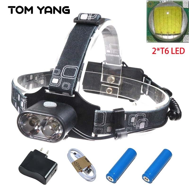 Led Spotlight Headlamp: High Power 2xT6 LED Focus Headlight Waterproof Bike Head