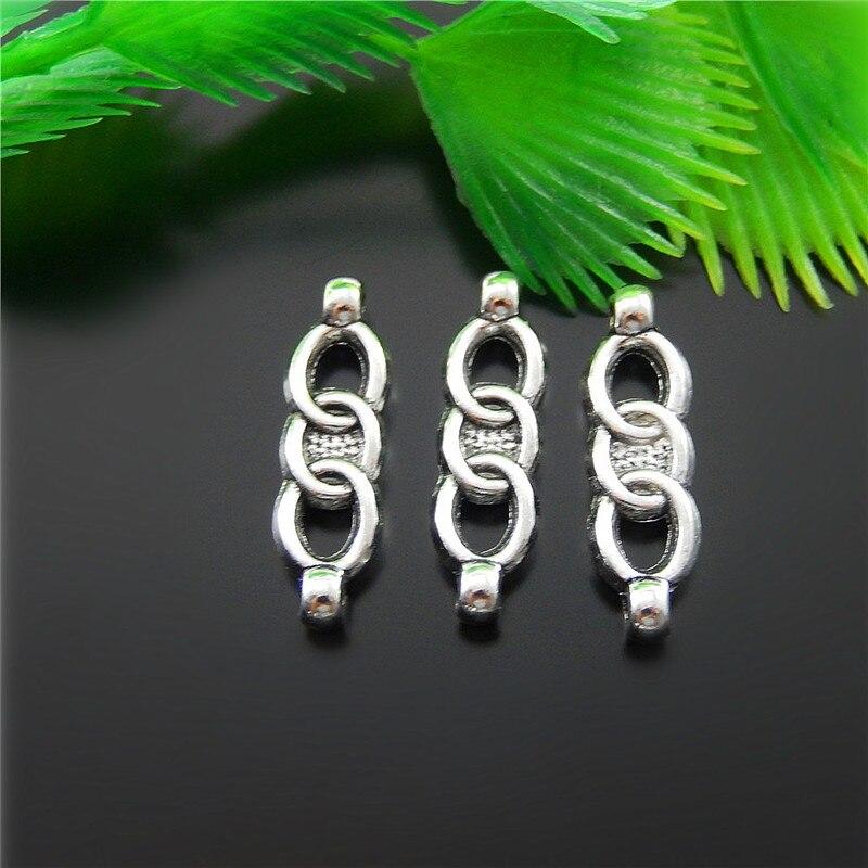 official photos b3d87 72d62 20 unids plata antigua tres Anillos conectores joyería Colgantes Amuletos  finding joyería que hace la cadena dominante 21 6 4 M