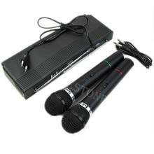 OOTDTY Dual 2 Mics Handheld Wireless Cordless Microphone System Professional Receiver kimafum professional 2 4g wireless instrument microphone system receiver