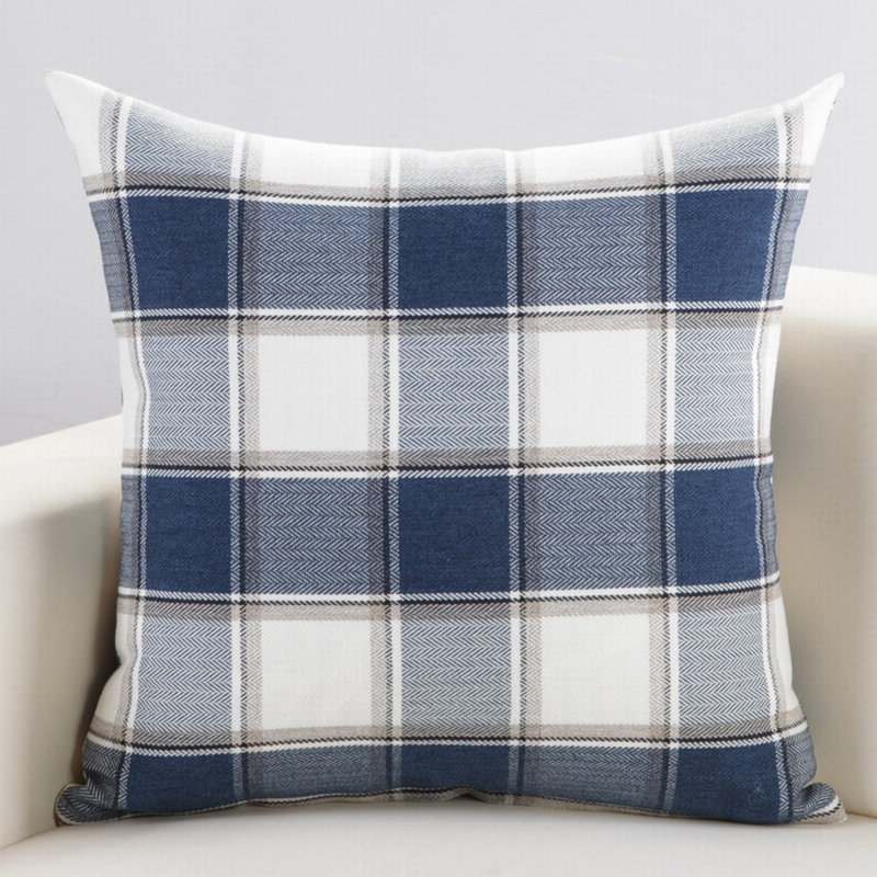 2016 Customized Classic Plaid Cushion Travel Washable Pillows Textile for Home Cotton Throw Sofa ...