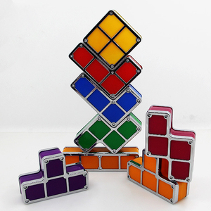 Image 4 - DIY Tetris Puzzle Light Stackable LED Night Light Constructible Block Desk Lamp 7 Colors Novelty Toy Children s Gift