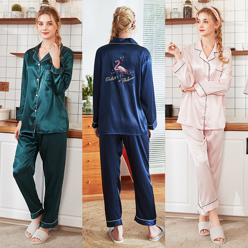 New Style Embroidery Women Pajamas Set 2PCS Sleepwear Satin Pyjamas Print Animals Nightwear Shirt&Pant Nightgown Sleep Suit M-XL