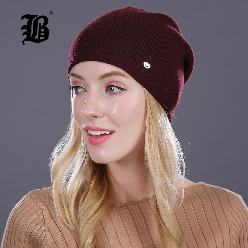 [FLB] Winter Hat For Women Girl S Wool Hat Keep Warm Knitted Beanies Cap With Lining 2017 Female Good Quality Casual Caps