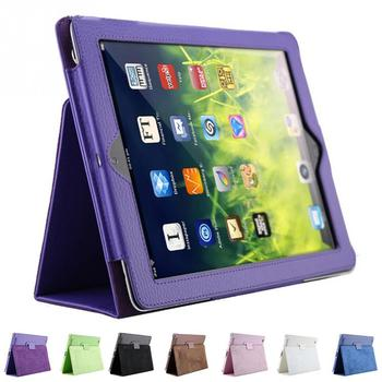 1Pc litchi pattern protective PU leather case For iPad 2/3/4 with sleep wake up function
