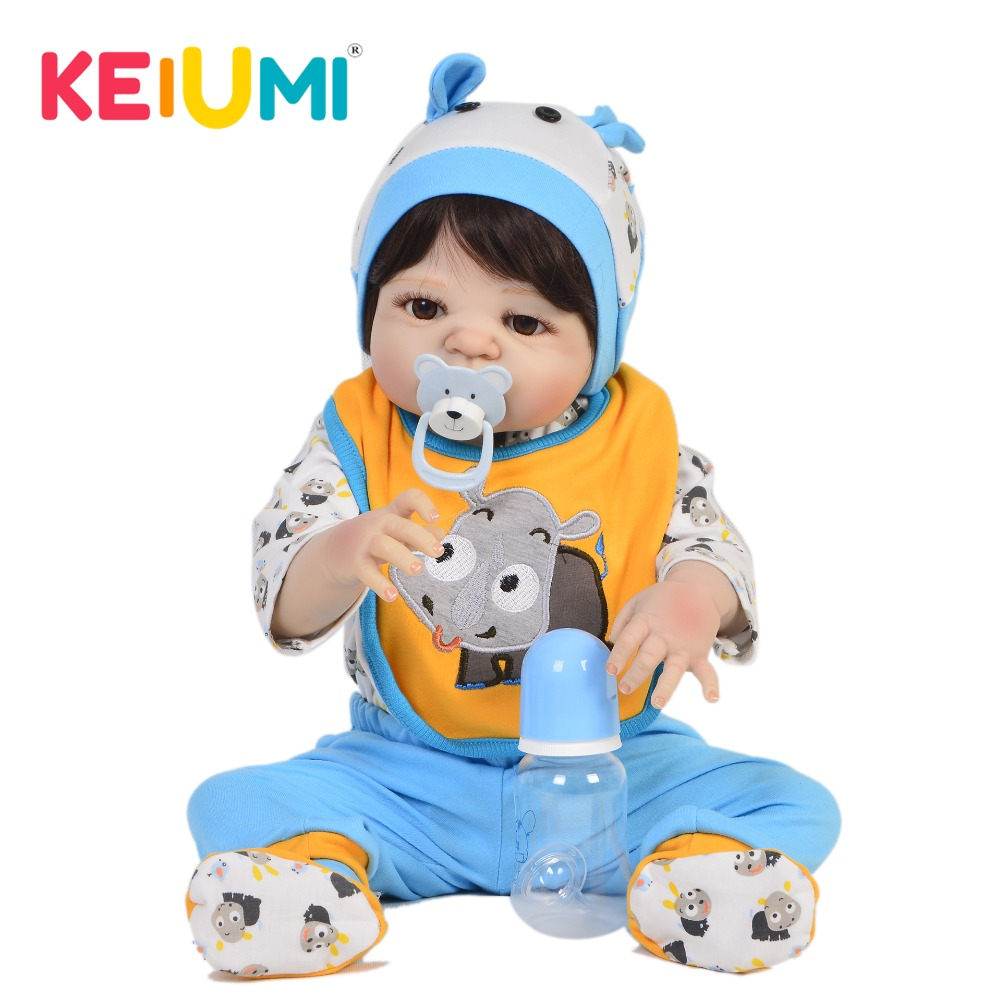 KEIUMI Hot Sale 23 Inch Baby Reborn Boy Doll Full Silicone Body Realistic Newborn Doll For