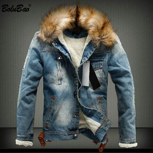 BOLUBAO новый бренд для мужчин джинсовая куртка 2018 зимние теплые толстые  джинсовые куртки верхняя одежда мода 22281a3fe66
