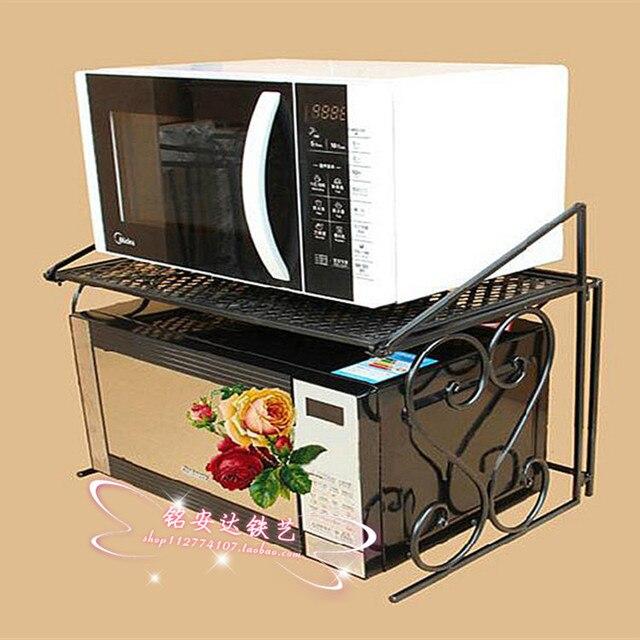 Iron microwave oven shelf microwave oven shelf kitchen shelving racks seasoning rack folding bulkhead shipping
