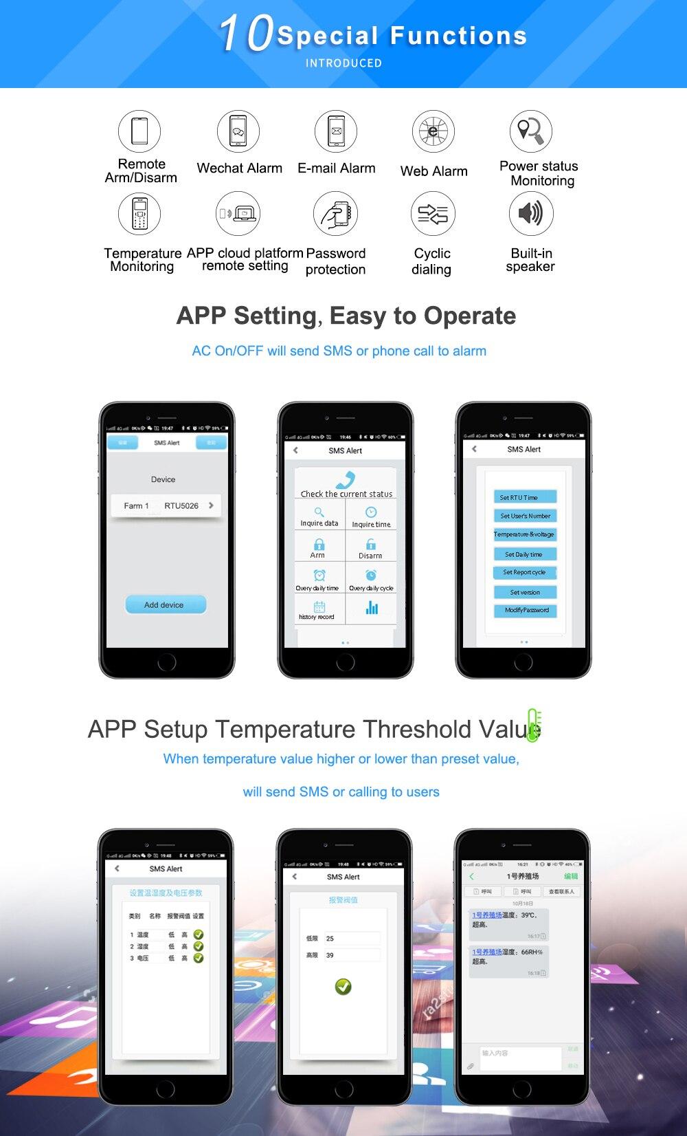 a 125 Graus Celsius por SMS RTU5026