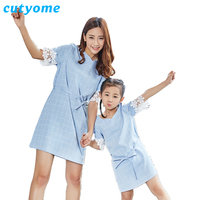 Mommy And Me Dresses Cutyome Cotton Short Sleeve Mother And Daughter Plaid Dress Casual Family Kid