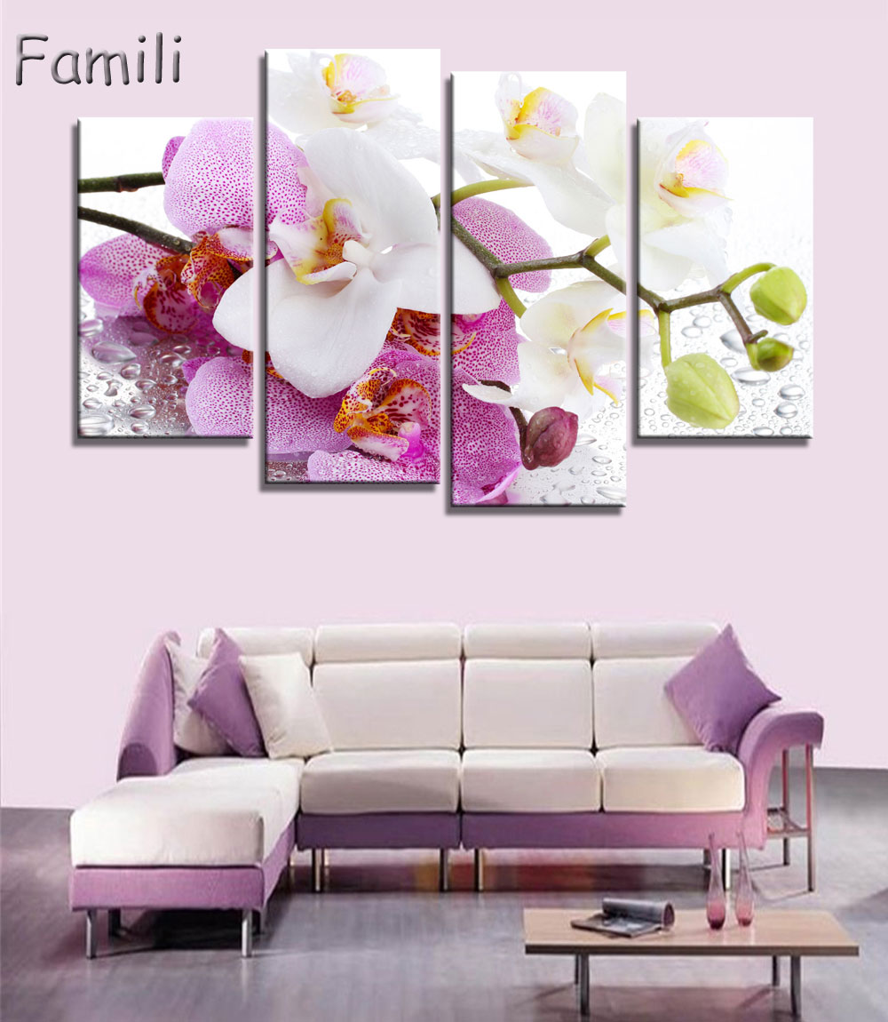 4pcs Print poster canvas Wall Art pink orchids Decoration art oil painting Modular pictures on the