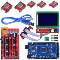 Mega 2560 R3 Mega2560 REV3 w/ USB Cable + RAMPS 1.4 Controller + RAMPS 1.4 LCD 12864 LCD Module for Arduino 3D Printer Kit
