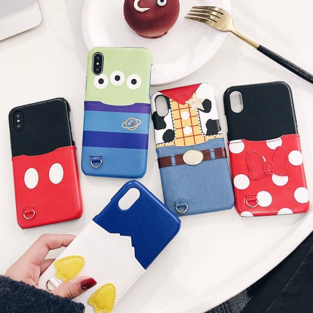 Pour iPhone X Minnie Mickey Étrangers Jouet Canard Poche Carte Étui En Cuir Pour iPhone 8 6 6 S 7 Plus