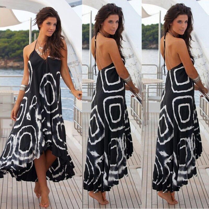 Celeb mujeres sexy backless del hombro largo del verano maxi dress flojo ocasion