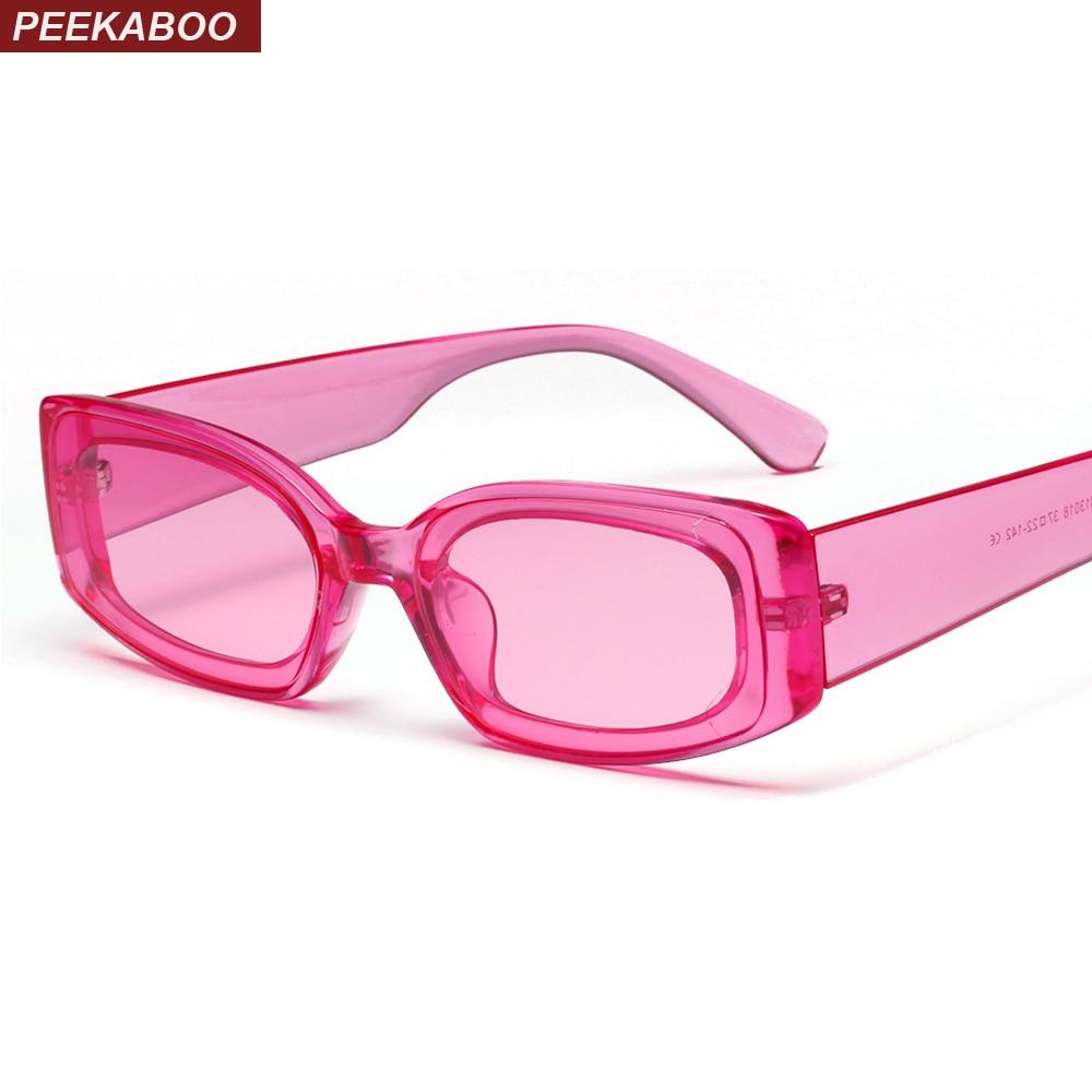 Peekaboo candy color sunglasses women rectangle square 2019 pink green blue transparent sun glasses for women retro black