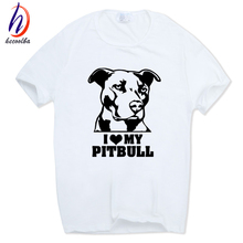 "Men ""I Iike My Pitbull"" Dog Fashion T-shirt O-Neck Short sleeves Summer Casual"