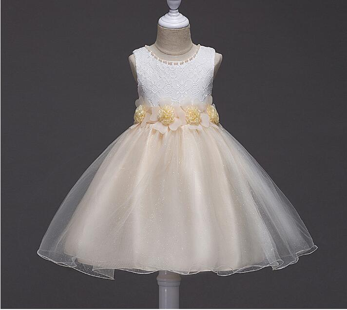 New Girls Dress Baby Girl Birthday Party Dresses Children Fancy Princess Ball Gown Flower Girl Dress Kids Clothes 2017 summer new lace vest girl dress baby girl princess dress 3 7 age chlidren clothes kids party costume ball gown beige
