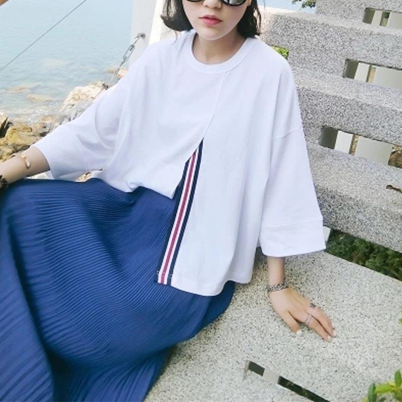 34108f4b640b0 Latest Design Fashion Women Open Fork T Shirt Sweet Korean White Long Tops  O Neck Casual Business Attire on Aliexpress.com