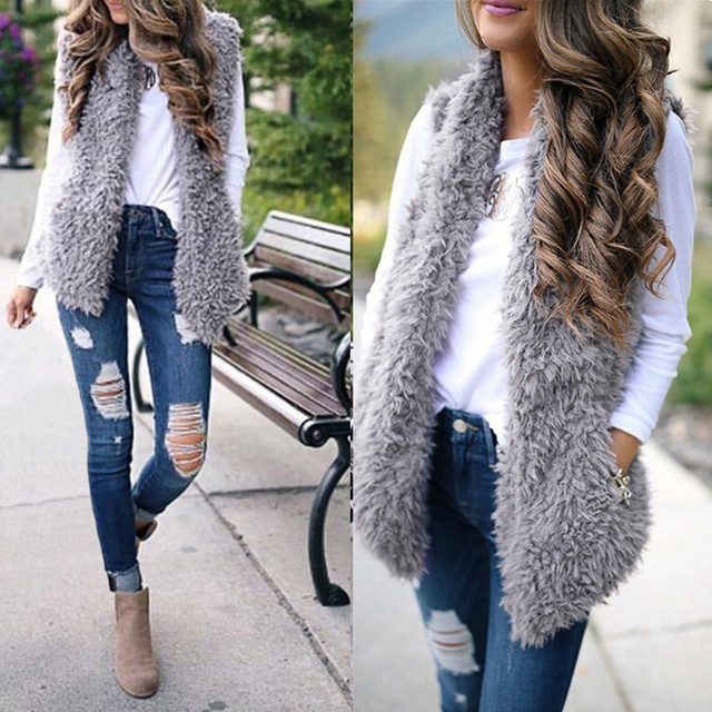 2020 Winter waistcoat for women Plush chalecos mujer Faux Fur Solid Casual Sleeveless Warm Vest Jacket warm cashmere cardigan 1