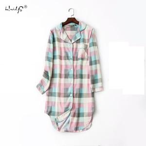 Image 2 - Plus Size 100% Katoen Vrouwen Flanel Vriendje Nachthemd Nachtjapon Nachthemd Roze Plaid Kat Nachtkleding Sleepshirt Nightgowns