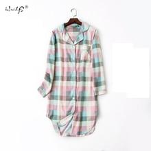 Plus size 100% Cotton Women's Flannel Boyfriend Nightshirt Nightgown Nightdress Pink Plaid Cat Sleepwear Sleepshirt Nightgowns