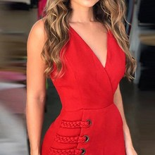 Sexy V Neck Women Dress High Waist Red Ladies Solid Casual Elegant Female