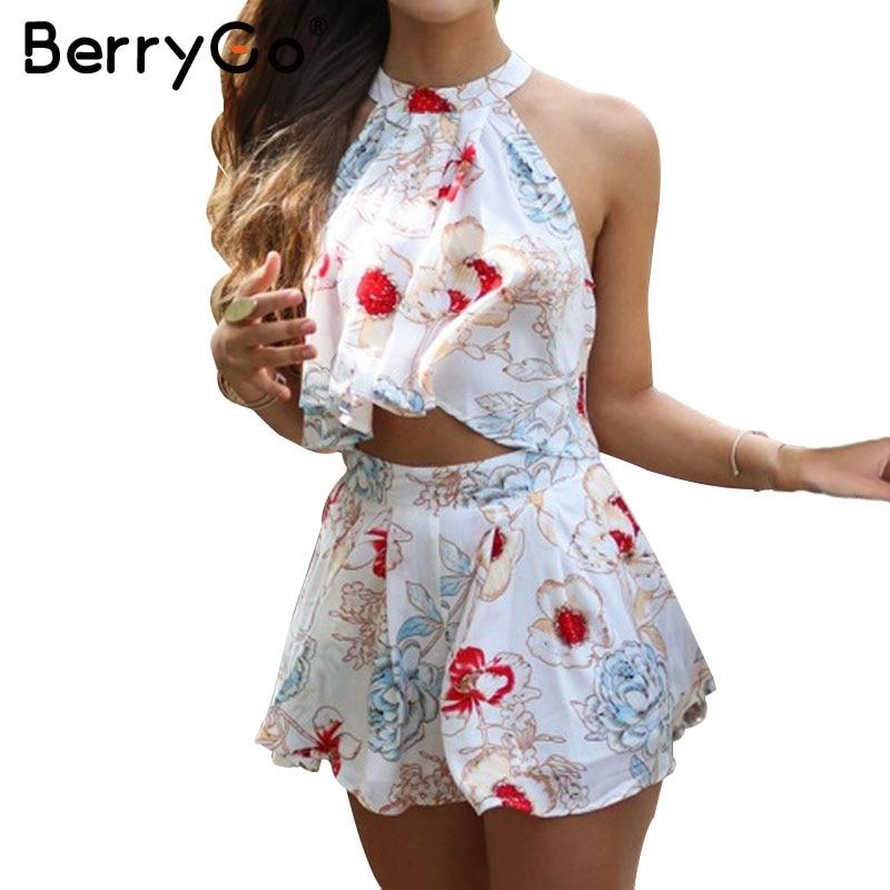 BerryGo Halter chiffon flower print jumpsuit romper Elegant sleeveless short summer playsuit Ruffle beach casual women