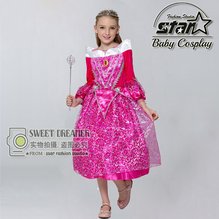 2016 Kid Junior Dress Character Princess Aurora Dresses Sleeping Beauty Girl Cosplay Costume Child Ball Gown For Halloween Gift free shipping new red hot chinese style costume baby kid child girl cheongsam dress qipao ball gown princess girl veil dress