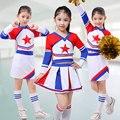 Cheerleaders School Girl Cheer Equipo Uniformes Niños Traje Del Funcionamiento de la competencia Establece Niñas de Clase Traje de Niña Trajes de Rooter