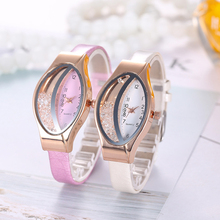 цена на Women Quartz Watch Fashion Luxury Gold Leather Wrist Watch Rhinestone Ellipse Creative Ladies Bracelet Watch relogio feminino