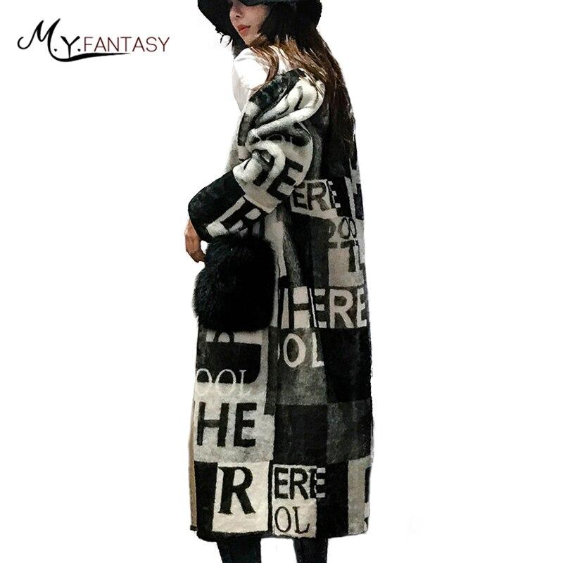 M Y FANSTY 2017 Winter Turkey Women S Print Latter Gilt Wool Coat V Neck Real