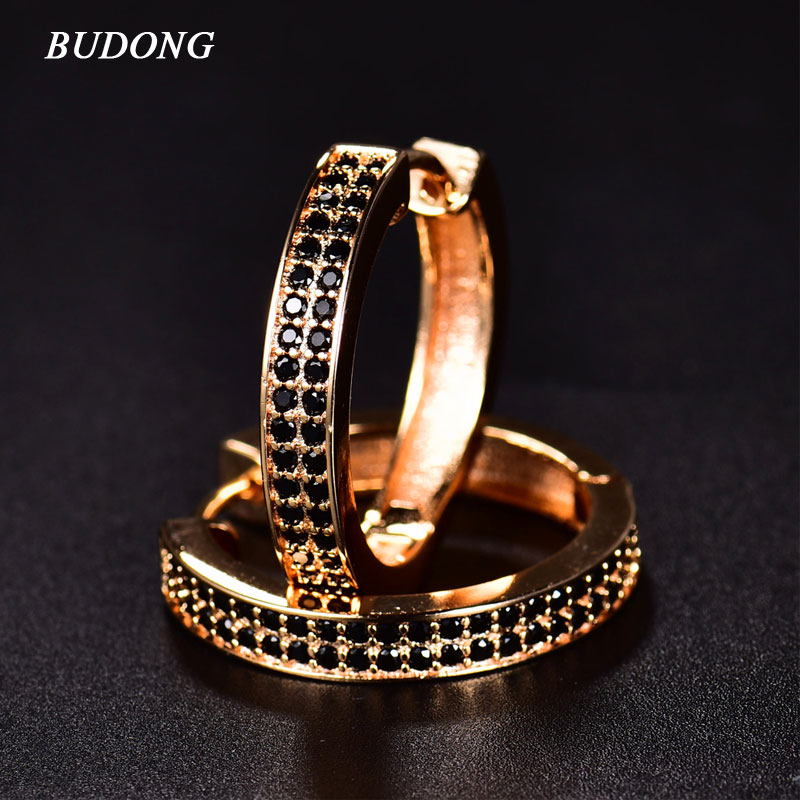 BUDONG 2016 Chic Classic Black Crystal Hoop Earrings for Women AAA Cubic Zircon Simulated Stone Earrings Jewelry Gift AE033 pair of chic faux crystal waterdrop leaf earrings for women